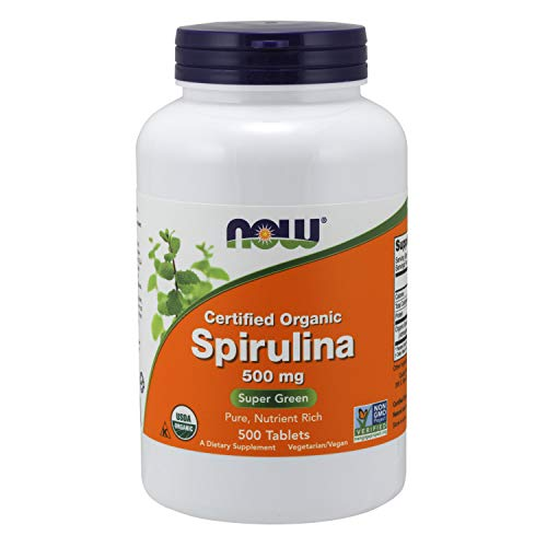 Certified Organic Spirulina, 500 mg, 500 tabletas - Now Foods