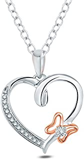 Natural Diamond Fine Pendant for Women Tesoro Mio Sterling Silver 1//20 Carat Round Cut I-J Color, I2-I3 Clarity