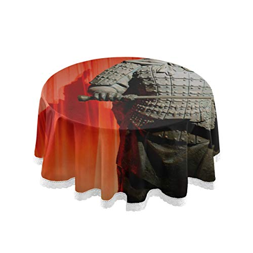 Runde chinesische Tischdecke Il Patrimonio Di Tutto Il Mondo Di Terrakotta Patio Esstisch Abdeckung 60 Zoll Spitze Stitching Macrame Polyester Dekoration