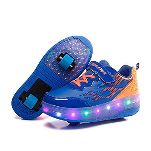 Zapatillas Deportivas LED para Niños Niña Niño LED Luces Skate Roller Zapatos Doble Rueda Patines de Roller Ajustable con Ruedas Sneakers Zapatos Moda Gimnasia Zapatos de Skateboard Calzado de Dep