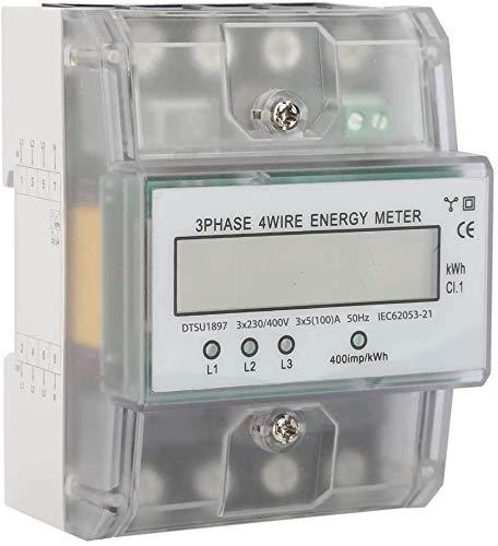 Navplus Digitaler Stromzähler Drehstromzähler Wattmeter für DIN Hutschiene, Energiemessgerät mit Wattanzeige 50Hz 5(100) A 3x230V/400V