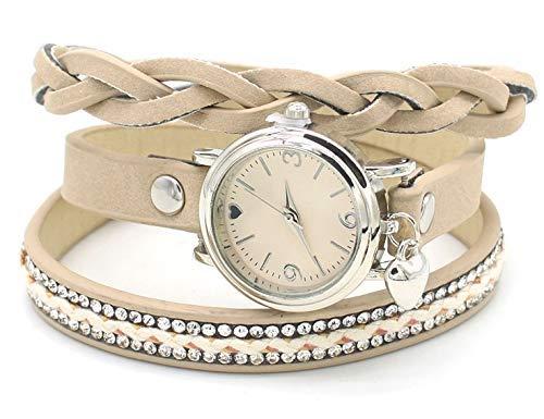 Dielay Damen Wickelarmband mit Uhr Quarzwerk PU-Kunstlederband mit Kristalle (Khaki)