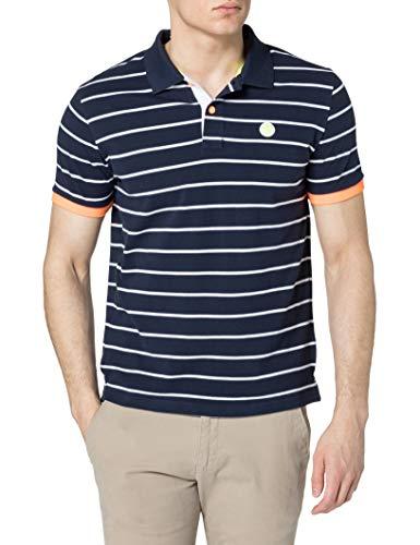NORTH SAILS Polo da Uomo Blu e Righe - 100% piqué di Cotone - vestibilità Regolare - Leggera con Maniche Corte e Scritte Ricamate - S