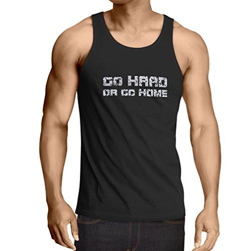 lepni.me Camisetas de Tirantes para Hombre ¡Go Hard or Go Home! - Refranes para Motociclistas, para Ciclistas, para Patinadores, Ciclistas (XX-Large Negro Multicolor)