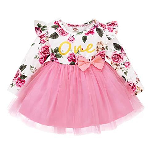 Amosfun Infantil Tutu Vestido Bowknot Menina One Piece- Vestido de Tule Menina Floral Impresso Saia Vestido Desempenho Crianças (Rosa 100 CENTÍMETROS)