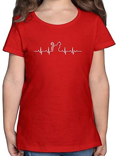 Tiermotiv Animal Print - Herzschlag Katze - 104 (3/4 Jahre) - Rot - t-Shirt Katze Kinder - F131K - Mädchen Kinder T-Shirt