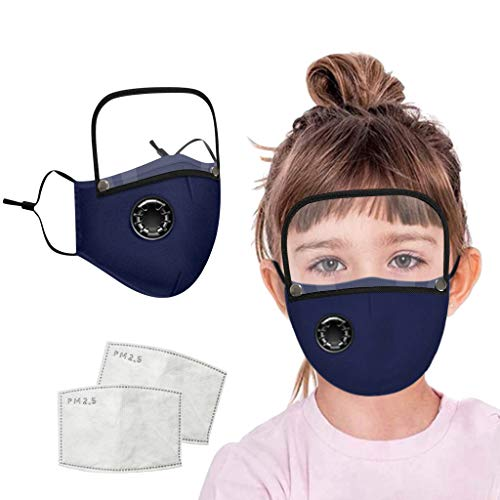 %50 OFF! Kids Face Bandanas with Breathing Valve Activated Carbon Filter Replaceable Clear Detachabl...