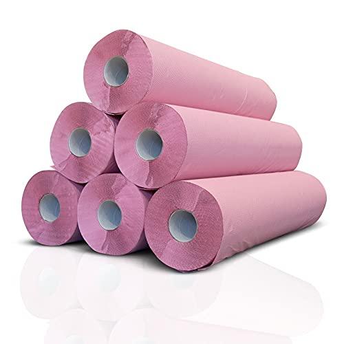 Papel de camilla ECO (caja de 6 unidades) de 0,59 x 75m (1,5kg) | Rollo Color Rosa ecológico sin precorte