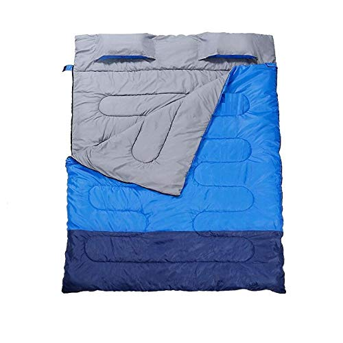 DLSM Sleeping bag adult camping outdoor winter cold and warm insulation dirt household indoor thickening double portable adult-Blue and Grey (Spring and Autumn 2.1KG)