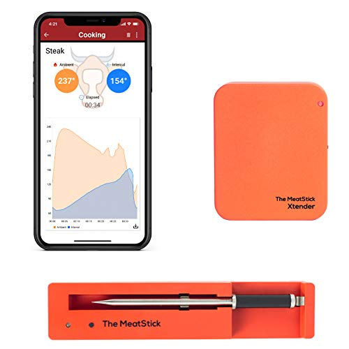 The All New MeatStick 300 Feet Xtender Set - True and Smart Wireless Meat Thermometer with Withstanding High Temperature for BBQ, Oven, Smoker, Stove Top, Kitchen, Sous Vide, Rotisserie, Kamado