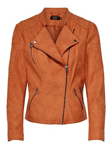 Only ONLAVA Faux Leather Biker OTW Noos Chaqueta de cuero, Llama dorada, 38 para Mujer