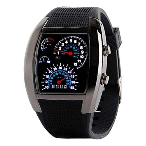 Boolavard TM Cool Auto Meter Zifferblatt geschlechtsneutral Blau Blitz Punkt Matrix LED Lauffuhr Armbanduhr