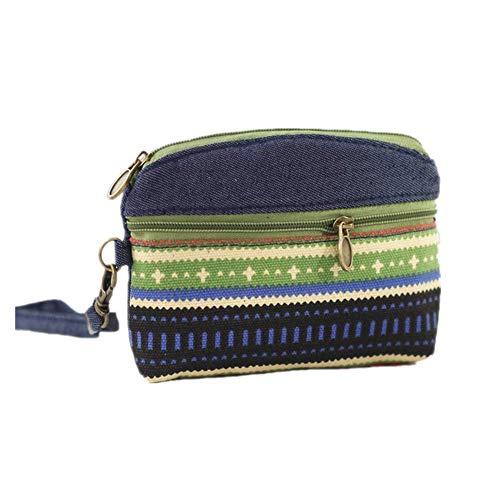 Oyfel Münzbörse Kleingeldbörse Mini Münzbörsen Münzbeutel Stoff Geldbeutel Klein Ethnischer Stil Muster Makeup Tasche 13.5 * 11 * 2cm