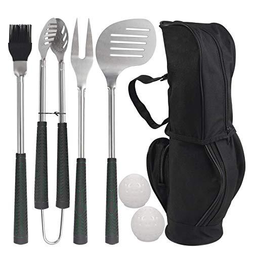WWJJLL 7 stücke Golf-Club-Stil BBQ-Grill-Werkzeuge Set, Edelstahl-Grill-Werkzeug-Sets für Innen-Innen-Grill-Geburtstagsgeschenk für Männer