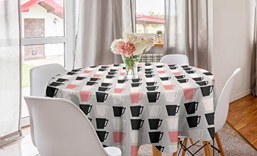 ABAKUHAUS Kaffee Runde Tischdecke, Pastell Tassen auf grauem Hintergrund, Kreis Tischdecke Abdeckung für Esszimmer Küche Dekoration, 150 cm, Rosa Pale Taupe Dunkelgrau