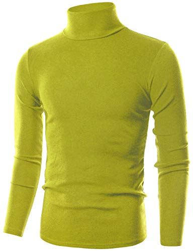 OHOO Mens Slim Fit Flice Long Sleeve Pullover Flice Turtleneck /DCT005-OLIVEGREEN-XL