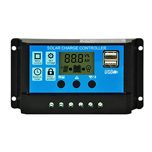 Régulateur intelligent de charge solaire 12 V/24 V avec double port USB 5 V et écran LCD (30 A)