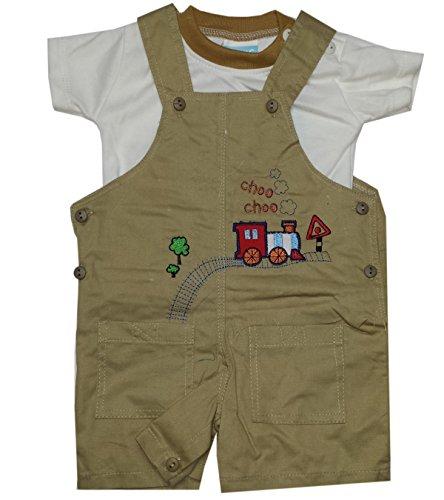 Baby C Enfants 2 Piece Choo Choo Imprimer Brown Salopette Top Set Age 0-3 Mois