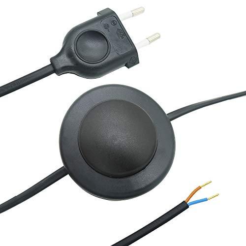 Cable de conexión de 3,00 m, 2 G, color negro, enchufe europeo + interruptor de pedal, cable de conexión 2 x 0,75 mm², 250 V, listo para conectar, cable de alimentación para lámparas