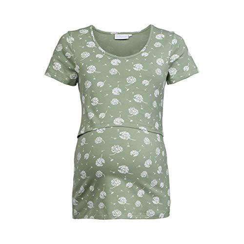 2HEARTS T-Shirt de Grossesse et d'allaitement GOTS T-Shirt de Grossesse T-Shirt de Grossesse, Fleurs Pissenlit Vert