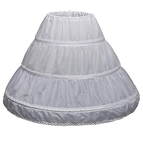 CDE Kinder Verstellbar Lang Petticoat mit 3 Ringe Reifrock Unterröcke für Mädchen Weiß Crinoline Underskirt, 7-13 Jahre, weiß