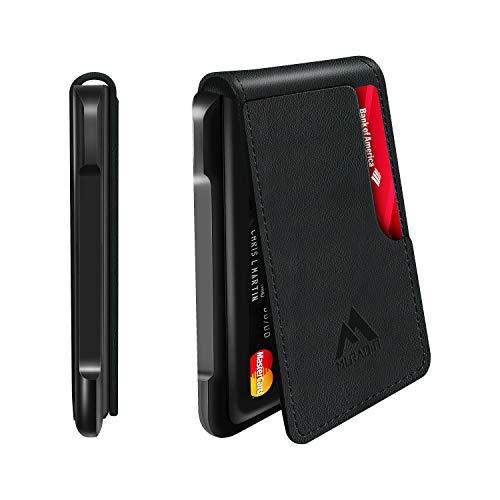 Mens Wallet Tactical Bifold Wallets for Men Metal RFID Blocking Aluminum Money Cards Holder Gifts for Men (Aluminum and Leather, Black)
