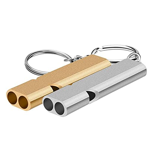 QODU 2 unids doble tubo alto decibelio aleación de aluminio al aire libre supervivencia silbato llavero animadora silbato multifunción herramienta