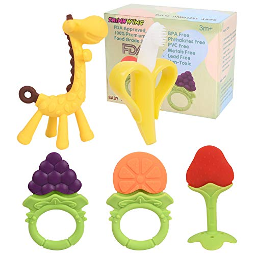 Baby Teething Toys 5 Pack, BPA Free Teething Toys for Babies 0-6 Months Teethers Freezer Safe Soft Silicone Fruit Giraffe Teethers Set Gift for 6-12 Months Infant Newborn Girls and Boys