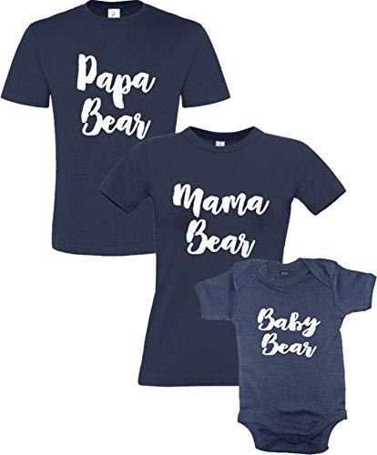 Papa, Mama et Baby Bear Tee Shirt Marine pour Homme (Taille Small-XXLarge), pour Femme (Taille Xsmall-Xlarge) et Body pour Enfants (Taille 0-3 a 1-2ans)