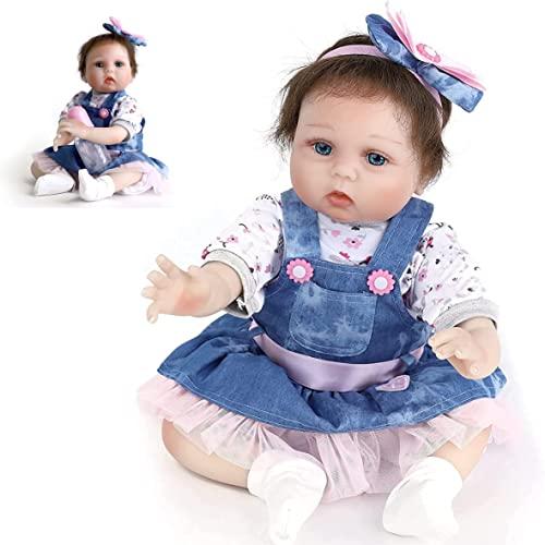 HRYEOY Muñecos bebé Reborn Vinilo de Silicona Suave Hecho a Mano Bebés para Niñas Juguetes 22 Pulgadas 55 cm Navidad Regalo