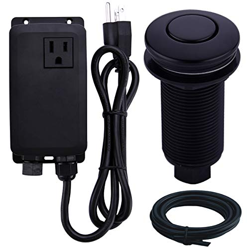 SINKINGDOM Garbage Disposal SinkTop Air Switch Kit with Long ButtonBrass Made CoverMatte Black