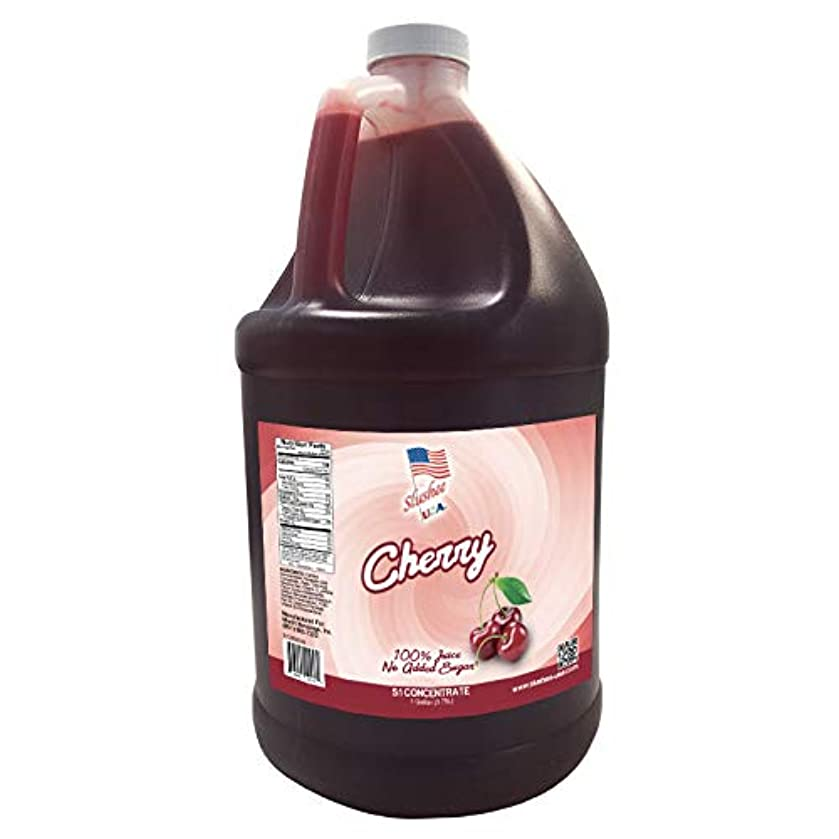 100% Fruit Juice Cherry Slushee Mix (NO ADDED SUGAR) | 1 Gallon - 128oz | (Yields Approximately 96-12oz Servings) | Mix 5 Parts Water With 1 Part Syrup