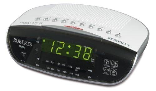 Roberts Radio CR9971 Chronologic Vi Dual Alarm Clock Radio with Instant Time Set, Silver