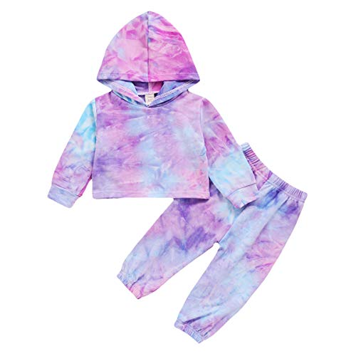 Toddler Boy Girl Outfit Set Baby Boy Tie Dye Long Sleeve Hoodie Top Pants Set Fall Winter Clothes Set (Purple, 5-6T)