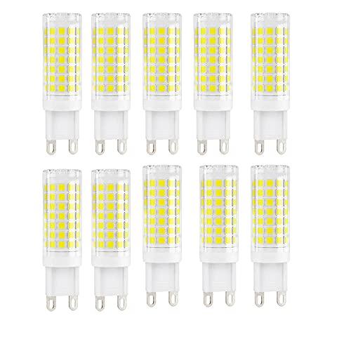 BANGSHUO 10 bombillas LED G9, 9 W (equivalente a 85 W), no regulable, luz blanca fría 6000 K, 850 lúmenes, G9 AC220-240 V, 360 grados