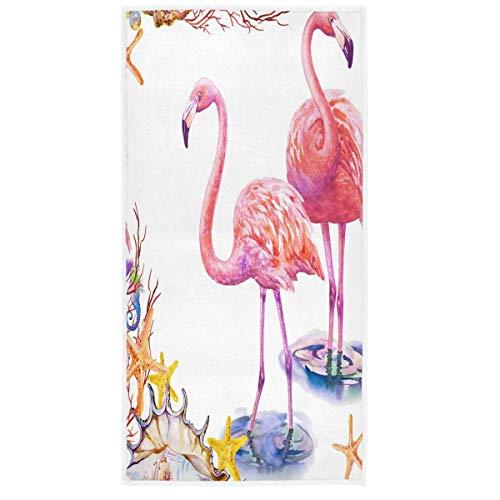 Two Lovers Pink Flamingo Toallas de Manos 15 x 30 en la Playa Estrella de mar Baño Toalla de baño Toallas Ultra Suaves absorbentes para Manos Gimnasio SPA (40 x 70 cm)