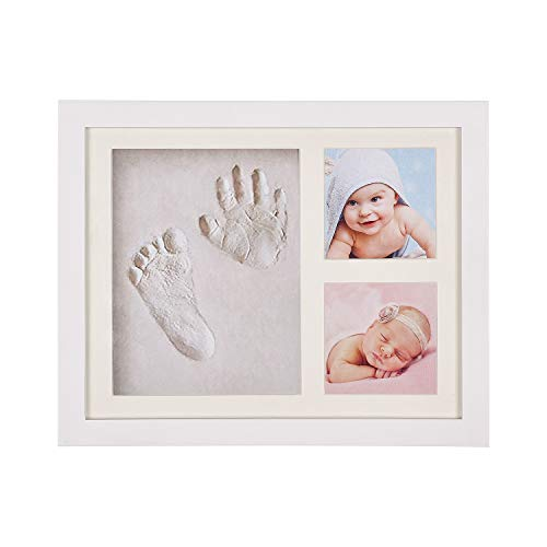 Baby Hand and Footprint Kit for Baby Gifts Safety Baby Shower Gifts for New Mom Baby Keepsake Frames for Room Wall Nursery Decor White