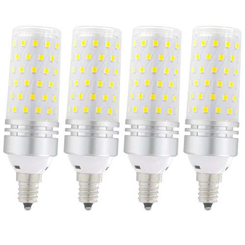 E12 LED bulbs, Candelabra LED Bulbs 100 Watt Equivalent,Daylight White 6000K, LED ceiling fan light bulbs,1500lm, Non-Dimmable LED light bulb, LED Chandelier Bulbs for Ceiling Fan,Home Lighting,4 Pack