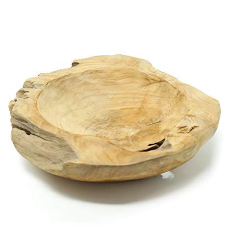 Benera teakhouten schaal decoratieve schaal fruitschaal natuur massief unicaat 30 cm diameter