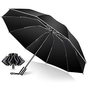 TSUNEO 折りたたみ傘 【2021最新 10本骨逆折り式 反射テープ付き】 折り畳み傘 メンズ傘 大きい おりたたみ傘 ワンタッチ 自動開閉 飛び出し防止機能 晴雨兼用 男子日傘 UVカット 梅雨対策 台風対応 高強度グラスファイバー 収納ポーチ付き メンズ レディース (ブラック)