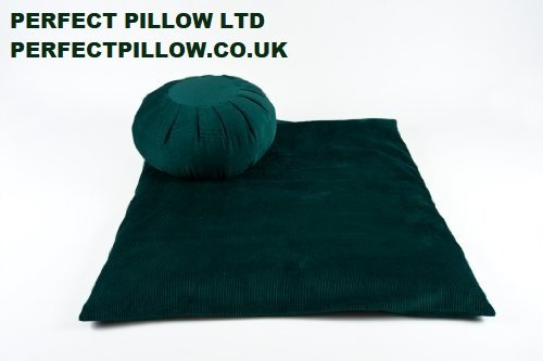 Set de zafú y zafutón para meditación (tejido de pana), color verde