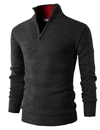 H2H Mens Casual Basic Pullover Sweater of Neck Zipper CHARCOAL US L/Asia XL (KMOSWL021)