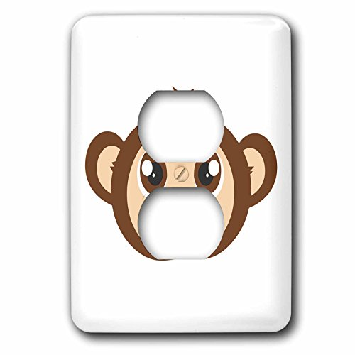 3dRose lsp_203413_6 Cute Baby Monkey Cartoon 2 Plug Outlet Cover