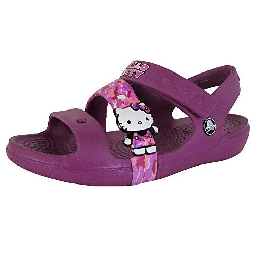 CROC Girls Keeley Hello Kitty Camo Sandal Shoes, Viola, US 4 Toddler