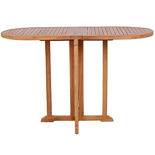 MR. DEKO Mr. Deko Teak Balcony - Tisch - Gartentisch - eckig/rund - klappbar - Outdoormöbel - Teakholz - für Balkon, Terrasse, Wintergarten, Garten