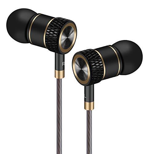 GAMURRY Auricolari,Cuffie ad alta Definizione, isolamento acustico, ottimi bassi progettati per lettori MP3, Samsung Galaxy, Nokia, HTC, exc. (Nero e oro)