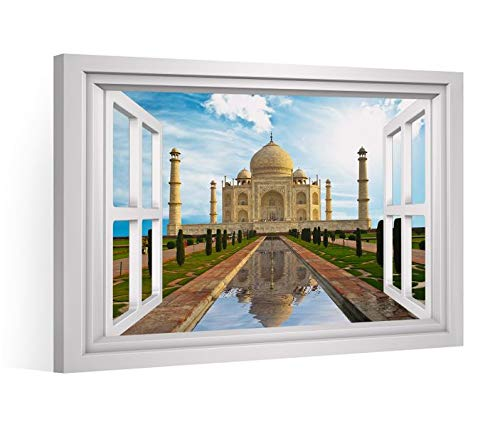 Fensterblick Leinwandbild XXL tadsch mahal Indien Palast Leinwand Bild Bilder Leinwandbilder Druck Wandbild Keilrahmen 9CD445, Leinwand Gr.:60x40cm