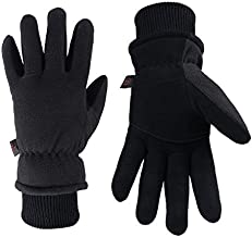 Winter Warm Gloves Cold Proof Insulated Work Glove for Driving Cycling Hiking Snow Skiing - Deerskin Suede Leather Thermal Polar Fleece Waterproof Hand Warmer for Men and Women Denim-Black Medium