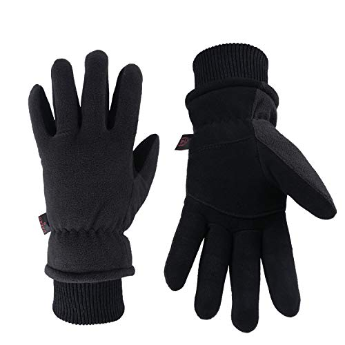 Winter Gloves Cold Proof Insulated Work Glove for Driving Cycling Hiking Snow Skiing - Deerskin Suede Leather Warm Polar Fleece Waterproof Windproof Hand Warmer for Men and Women Denim-Black Large