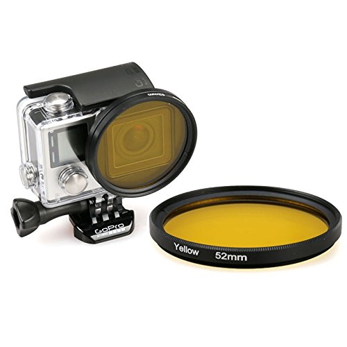 52 millimetri rotonda UV Lens cerchio di colore del filtro for GoPro HERO 4/3+, Accessori per action camera (Color : Yellow)